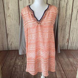 BKE boutique orange embellished tee size large